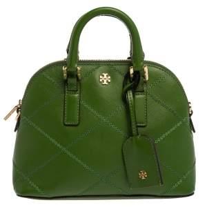 Tory Burch Green Leather Mini Stitched Robinson Satchel