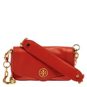 Tory Burch Orange Leather Flap Crossbody Bag
