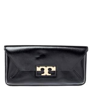 Tory Burch Black Textured Patent Leather Gigi Clutch