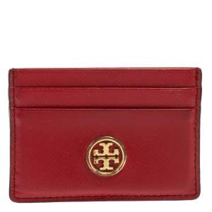 Tory Burch Red Leather Robinson Card Holder