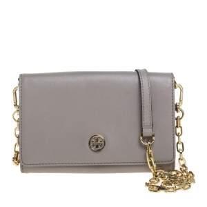 Tory Burch Grey Leather Robinson Chain Crossbody Bag