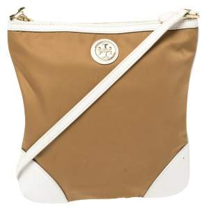 Tory Burch Brown/White Nylon and Leather Crossbody Bag