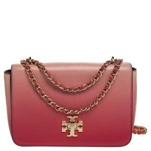 Tory Burch Coral Pink Ombre Leather Mercer Shoulder Bag