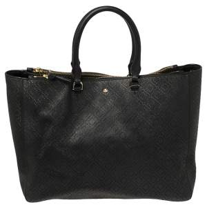 Tory Burch Black Perforated Saffino Leather Robinson Tote