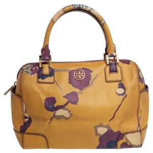 Tory Burch Yellow Floral Print Leather Robinson Middy Satchel