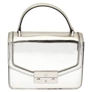 Tory Burch Metallic Silver Leather Mini Juliette Top Handle Bag