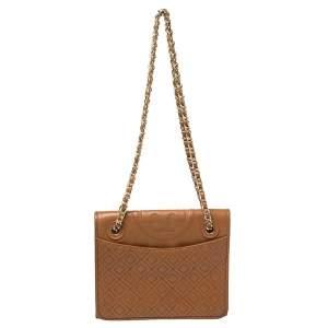 Tory Burch Brown Leather Medium Fleming Shoulder Bag