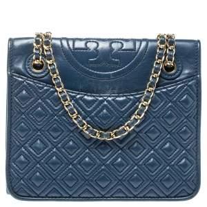 Tory Burch Blue Leather Medium Fleming Shoulder Bag