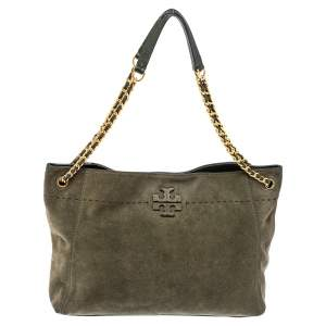 Tory Burch Olive Green Suede and Leather Mcgraw Tote