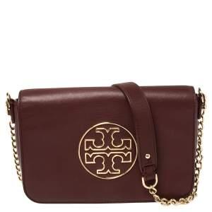 Tory Burch Burgundy Leather Isabella Shoulder Bag