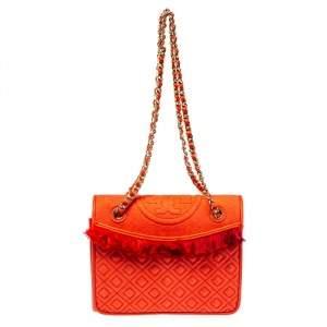 حقيبة توري برش فليمنغ جلد أحمر بوبي متوسطة