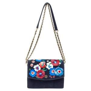 Tory Burch Dark Blue Suede Parker Floral Applique Shoulder Bag