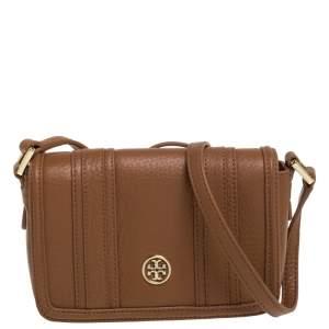 Tory Burch Tan Leather Flap Crossbody Bag