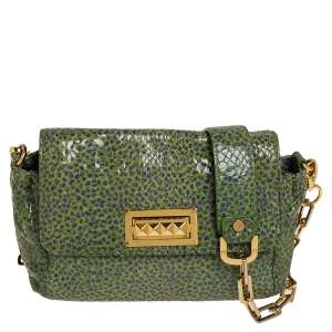 Tory Burch Green/Blue Python Print Patent Leather Shoulder Bag