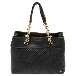 Tory Burch Black Leather Small Fleming Tote