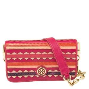 Tory Burch Pink Leather Colorblock Flap Chain Clutch