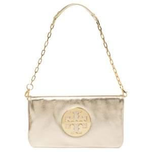 Tory Burch Metallic Gold Leather Reva Shoulder Bag