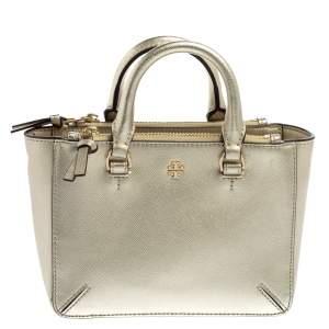 حقيبة يد توري برش روبينسون صغيرة سحاب مزدوج جلد سافيانو لامع ذهبي