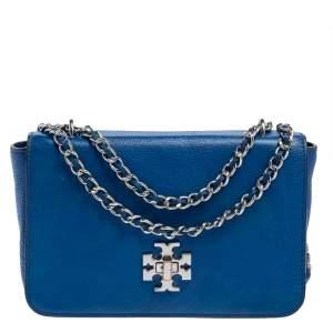Tory Burch Blue Leather Mercer Shoulder Bag