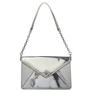 Tory Burch Silver Patent Leather Shoulder Bag