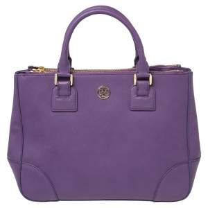 Tory Burch Purple Leather Robinson Double Zip Tote