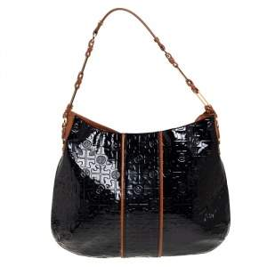 Tory Burch Black Monogram Embossed Patent Leather Snap Hobo