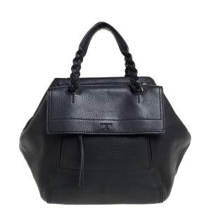 Tory Burch Black Leather Small Half Moon Satchel