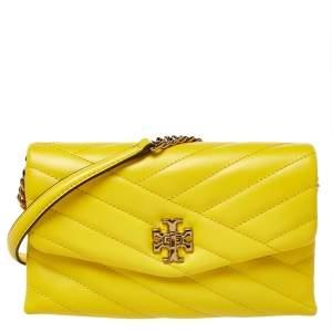 حقيبة كلتش توري برش سلسلة كيرا جلد أصفر