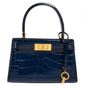 Tory Burch Blue Croc Embossed Leather Lee Radziwill Petite Top Handle Bag