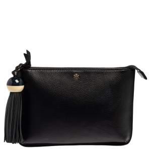 Tory Burch Black Leather Kira Tassel Crossbody Bag