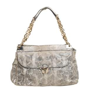 Tory Burch Cream Python Embossed Leather Simon Shoulder Bag