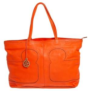 Tory Burch Orange Leather Amalie Simple Tote