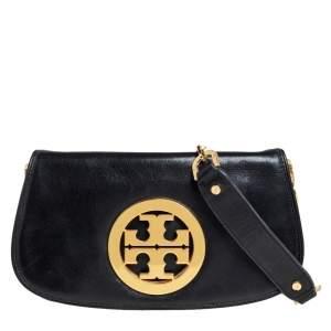 حقيبة كروس تورى برش ريفا شعار الماركة جلد أسود