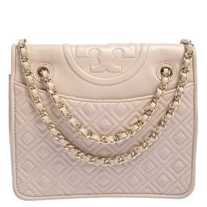 Tory Burch Pink Leather Medium Fleming Shoulder Bag