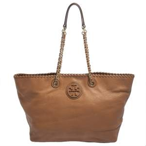 Tory Burch Brown Leather Whipstitch Tote