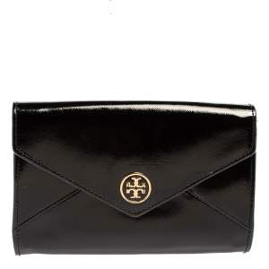 Tory Burch Black Patent Leather Robinson Envelope Clutch
