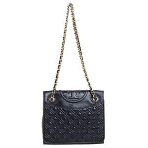 Tory Burch Black Leather Fleming Shoulder Bag