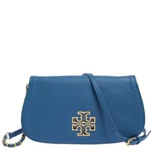 Tory Burch Blue Leather Britten Crossbody Bag