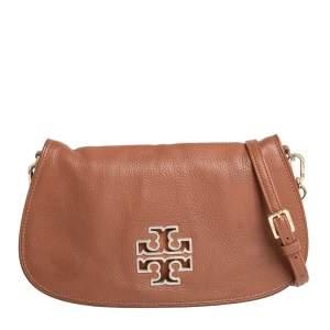 Tory Burch Brown Leather Britten Flap Crossbody Bag