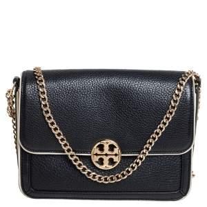 Tory Burch Black/Cream Leather Convertible Chelsea Shoulder Bag