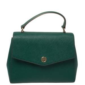 Tory Burch Green Leather Robinson Small Top Handle Bag