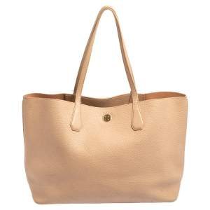 Tory Burch Light Peach Pebbled  Leather Robinson Tote
