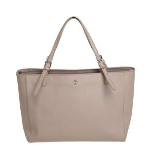 Tory Burch Grey Leather Large Robinson Shopper Tote