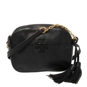 Tory Burch Black Leather McGraw Camera Crossbody bag