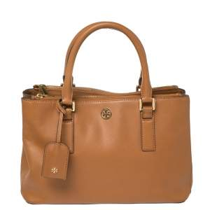 Tory Burch Brown Leather Robinson Double Zip Tote