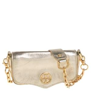 Tory Burch Metallic Gold Leather Crossbody Bag