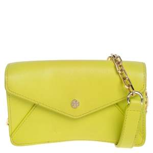 Tory Burch Lime Leather Envelope Flap Chain Crossbody Bag