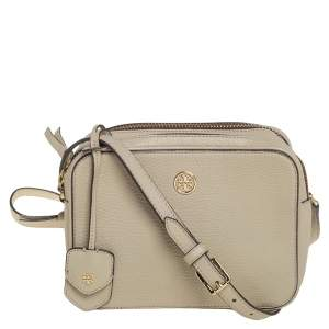 Tory Burch Beige Leather Double Zip Robinson Crossbody Bag