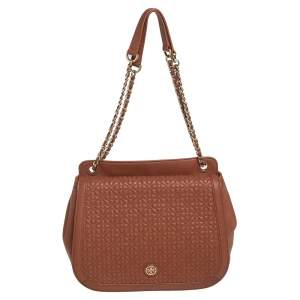 Tory Burch Brown Leather Flap Shoulder Bag