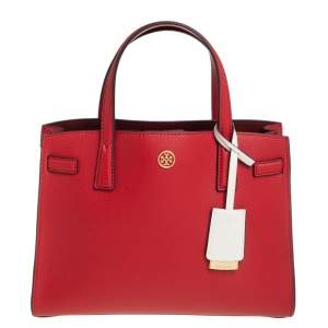 Tory Burch Red Leather Walker Tote